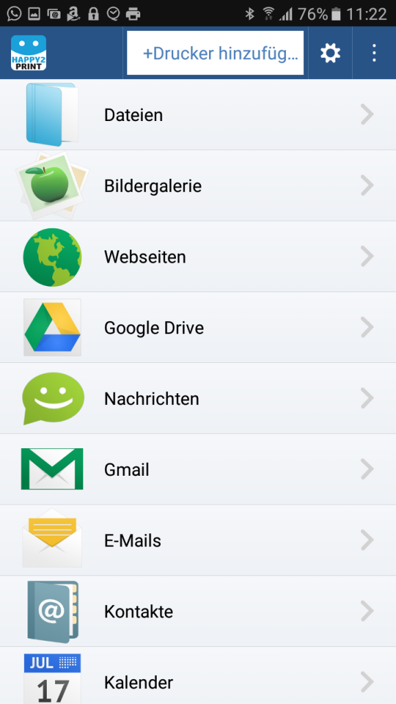 Alle möglichen Dateien können über happy2print ausgewählt werden.