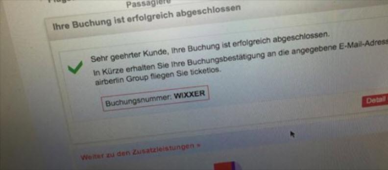Die automatisch generierte Buchungsnummer sorgte für viel Spaß in der Netzgemeinde. (Quelle: Screenshot Facebook)